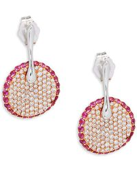 Roberto Coin - White Gold & Pavé Diamond Round Drop Earrings - Lyst