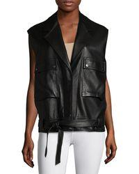 Helmut Lang Leather Belted Vest - Black