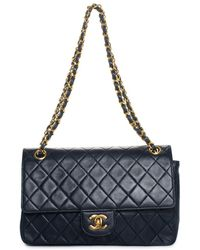 Hot Chanel - Navy Quilted Lambskin Leather Medium Classic Double Flap Bag -  Lyst 6b62d7cce6