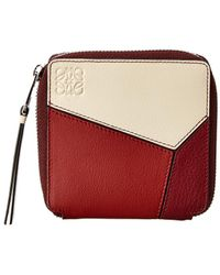 Loewe Puzzle Square Leather Zip Around Wallet - Red