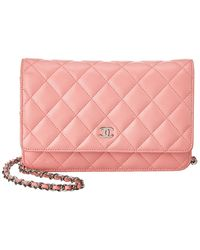 Chanel Pink Quilted Lambskin Leather Wallet On Chain
