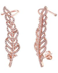 Gabi Rielle 20k Rose Gold Over Silver Cz Leaf Ear Climbers - Metallic
