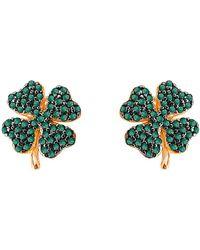Gabi Rielle Clover Cz Earrings - Green