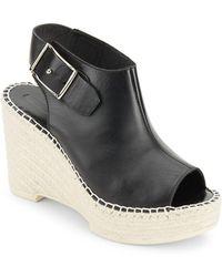 McQ Peep Toe Espadrille Wedge Sandals - Black