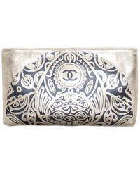 Chanel Limited Edition Gold Leather Paris Bombay Metiers D'art Clutch - Metallic