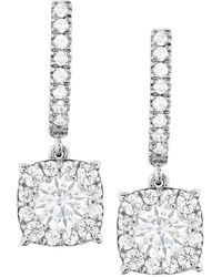 Hearts On Fire 18k 1.30 Ct. Tw. Diamond Custom Halo Drop Earrings - Metallic