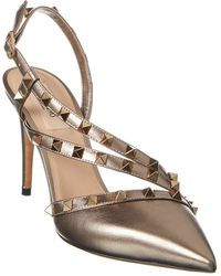 Valentino Garavani Rockstud 90 Metallic Leather Slingback Pump - Multicolour