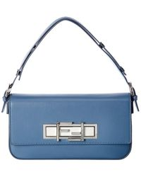 Fendi Blue Leather Trebagget Shoulder Bag