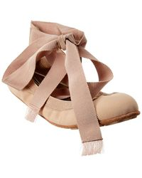 Dior Academy Lace Up Mesh Ballerina Flat - Brown