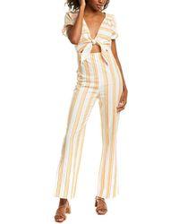 Kendall + Kylie Tie-front Linen-blend Jumpsuit - Yellow