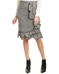 Rebecca Taylor Plaid Ruffle Skirt - Black