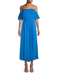 MILLY Zoey Silk-blend Maxi Dress - Blue