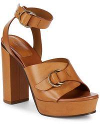 Chloé Kingsley Platform Leather Sandals - Brown