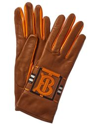 Burberry Cashmere-lined Leather Gloves - Orange