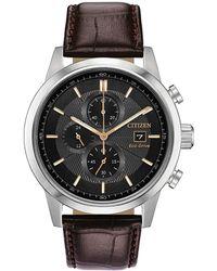 Citizen Men's Leather Watch - Metallic