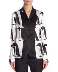 Thom Browne Silk Penguin Blouse - White