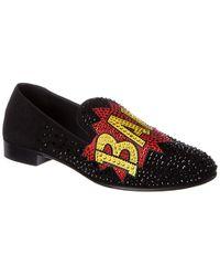 Giuseppe Zanotti Bam Studded Suede Loafer - Black