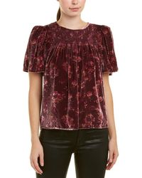 Rebecca Taylor Smocked Silk-blend Top - Purple