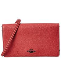 COACH Hayden Leather Fold-over Crossbody Clutch - Red