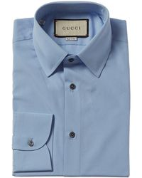 Gucci French Collar Woven Shirt - Blue
