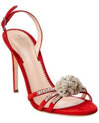 Giuseppe Zanotti Blossom Suede Sandal - Red