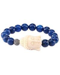 Gabi Rielle Blue Agate & Cz Buddha Stretch Bracelet