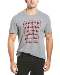 John Varvatos Guitar Rows Flocked Crew T-shirt - Gray