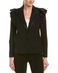 Rebecca Taylor Ruffle Wool-blend Jacket - Black