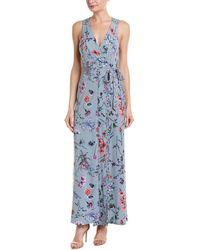 BCBGMAXAZRIA Floral Wrap Dress - Blue