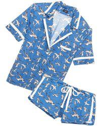 Cosabella Amore Short Sleeve Top Boxer Pj Set - Blue