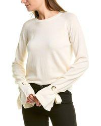 Maje Crewneck Wool Sweater - White