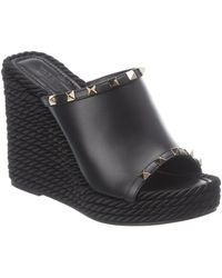 Valentino Garavani Rockstud 115 Leather Wedge Sandal - Black