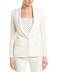 Stella McCartney Peak Lapel Silk-lined Wool Blazer - White