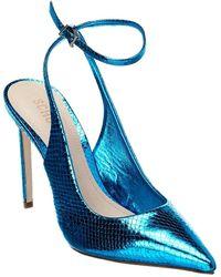 Schutz Rosala Snake-embossed Leather Pump - Blue