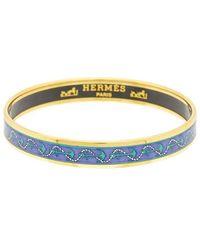 Hermès Plated Printed Enamel Narrow Bangle - Metallic
