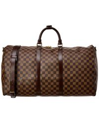 Louis Vuitton Damier Ebene Canvas Keepall 55 Bandouliere - Brown