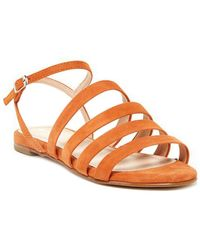 Charles David Stripe Suede Sandal - Orange