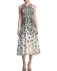 L.K.Bennett - Georgia Silk Geometric A-line Dress - Lyst
