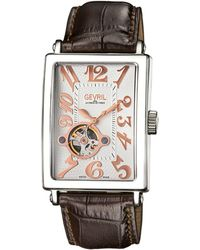 Gevril Watches Avenue Of Americas Intravedre Open Heart Watch, 44mm - Brown