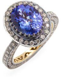 Amrapali - 18k Gold And Silver Tanzanite And Diamond Ring - Lyst