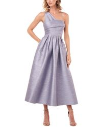 Kay Unger One-shoulder Victoire Shantung Jacquard Midi Dress - Purple