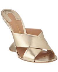 Ferragamo F Leather Wedge Sandal - Natural