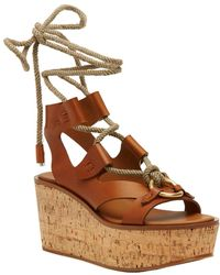 Frye Dahlia Rope Wedge Sandal - Brown