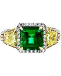Diana M. Jewels . Fine Jewellery 18k Two-tone 5.46 Ct. Tw. Diamond & Emerald Ring - Green