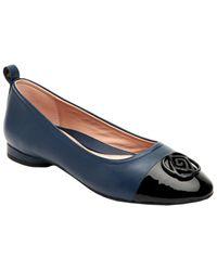 Taryn Rose Penelope Butter Weatherproof Leather Flat - Blue