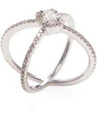 nephora 18k white gold u0026 100 total ct diamond halo x ring lyst
