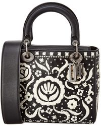 Dior Lady Leather Tote - Black