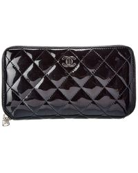 Chanel Black Quilted Patent Leather Zip-around Wallet