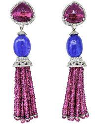 Arthur Marder Fine Jewelry 14k & Silver 55.27 Ct. Tw. Diamond & Gemstone Tassel Earrings - Purple