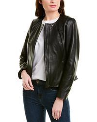 Cole Haan Feminine Racer Leather Jacket - Black